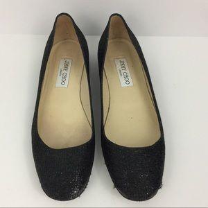 Jimmy Choo Black Sparkly Flat Size 37.5
